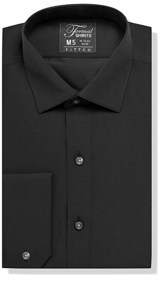 Formal Black Laydown Shirt No Pleats
