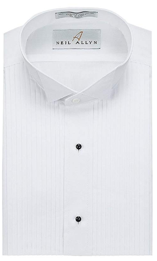 Formal White Wingtip Shirt Pleated